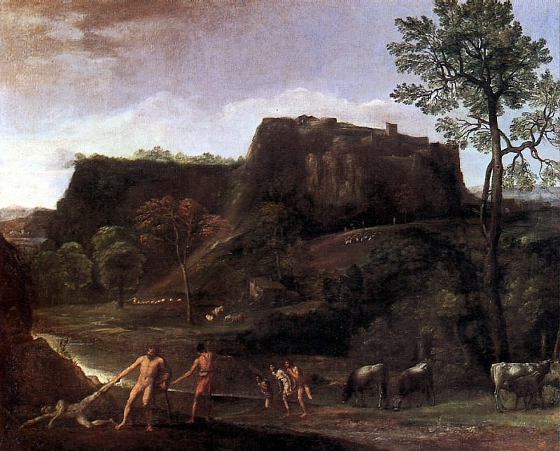 ДОМЕНИКИНО - Пейзаж с Гераклом и Ахелоем, ок. 1621.. Louvre (Paris)