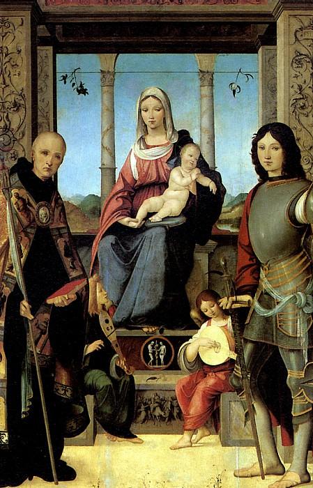 МАРМИТТА ФРАНЧЕСКО - Мадонна с младенцем, со святыми Бенедиктом и Квентином и двумя ангелами.. Louvre (Paris)