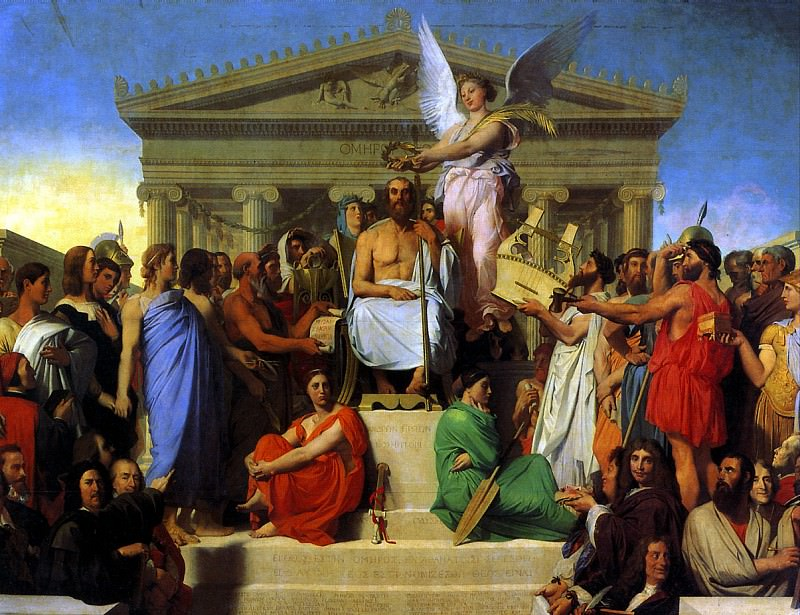 ЭНГР ЖАН ОГЮСТ ДОМИНИК - Апофеоз Гомера, 1827.. Louvre (Paris)