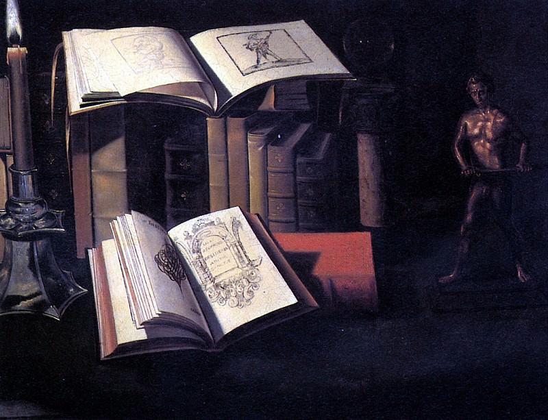 ШТОСКОПФ СЕБАСТЬЯН - Натюрморт с книгами, свечой и бронзовой статуей.. Louvre (Paris)