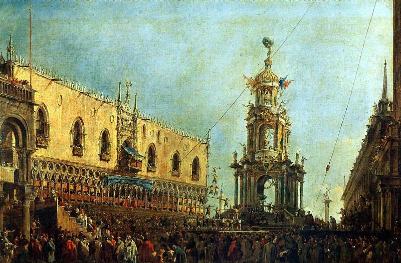ГВАРДИ ФРАНЧЕСКО - Дож принимает участие в празднествах на Пьяццетта в Великий Четверг.. Louvre (Paris)