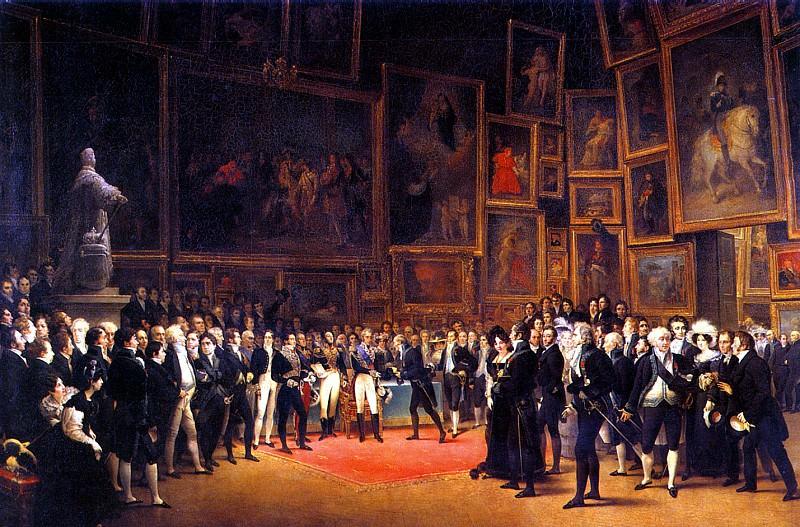 ХЭЙМ ФРАНСУА ЖОЗЕФ - Лувр, 15 января 1825 г. Карл Х награждает художников, выставлявшихся в Салоне 1824 г. Король вручает ленту ордена св. Михаила скульптору Картелье.. Лувр (Париж)