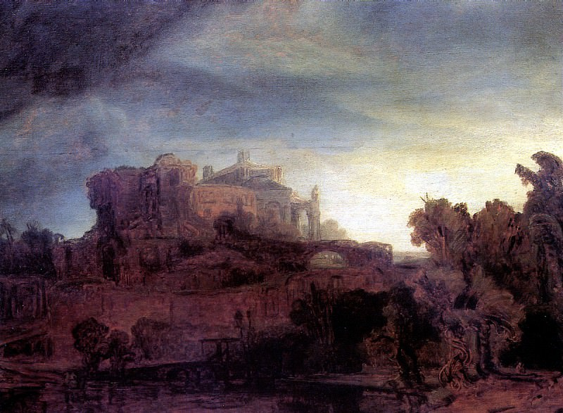 РЕМБРАНДТ - Пейзаж с замком.. Louvre (Paris)