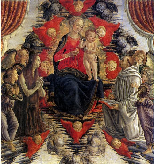 БОТТИЧИНИ ФРАНЧЕСКО - Мадонна с младенцем в Славе со св. Марией Магдалиной, св. Бернардом и ангелами.. Louvre (Paris)
