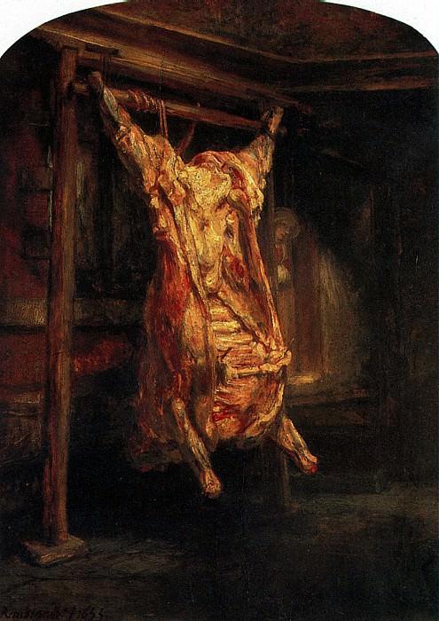 РЕМБРАНДТ - Туша быка, 1655.. Louvre (Paris)