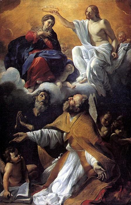 ЛАНФРАНКО ДЖОВАННИ - Коронование Девы Марии со святыми Августином и Уильямом Аквитанским.. Louvre (Paris)