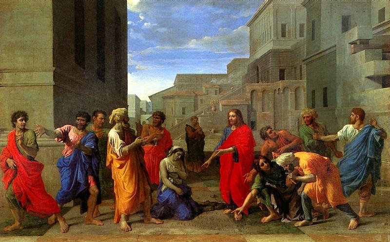 ПУССЕН НИКОЛА - Христос и грешница.. Louvre (Paris)