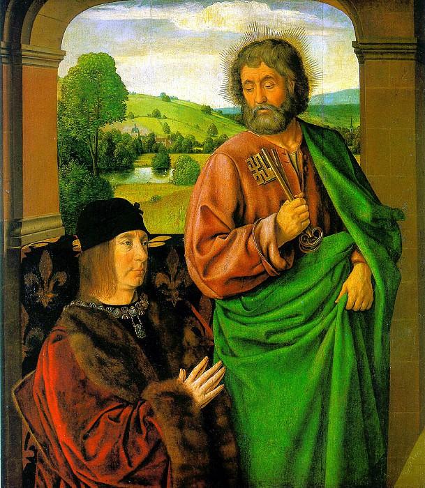 ХЭЙ ЖАН - Пьер II, герцог Бурбонский со святым патроном апостолом Петром,. Louvre (Paris)