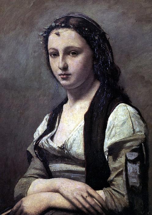 КОРО ЖАН БАТИСТ КАМИЛЬ - Женщина с жемчугом.. Louvre (Paris)