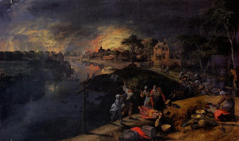 МОСТРАРТ ГИЛЛИС - Сцена с битвой и пожаром.. Louvre (Paris)