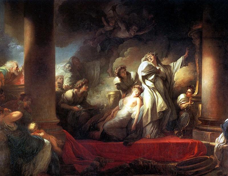 ФРАГОНАР ЖАН ОНОРЕ - Старшая жрица Корезус жертвует собой, чтобы спасти Каллирою.. Louvre (Paris)
