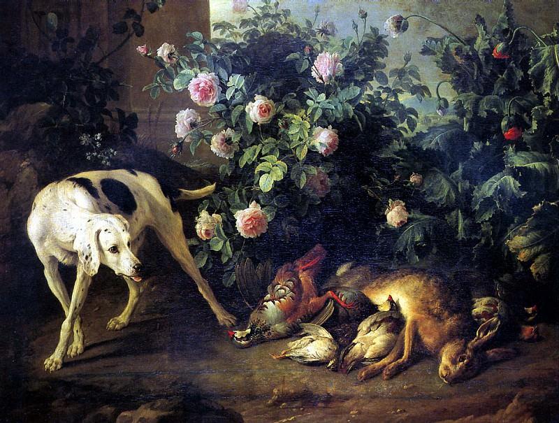 ДЕПОРТ ФРАНСУА - Натюрморт с собакой и битой дичью у розового куста, 1724.. Louvre (Paris)