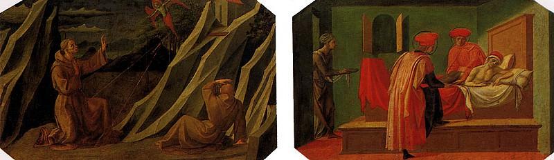ПЕЗЕЛЛИНО - СВ. Франциск, получающий стигматы; Святые Косьма и Дамиан, врачующие больного.. Louvre (Paris)