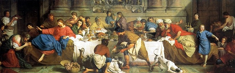 СУБЛЕЙРА ПЬЕР - Трапеза в доме Симона, 1737.. Лувр (Париж)