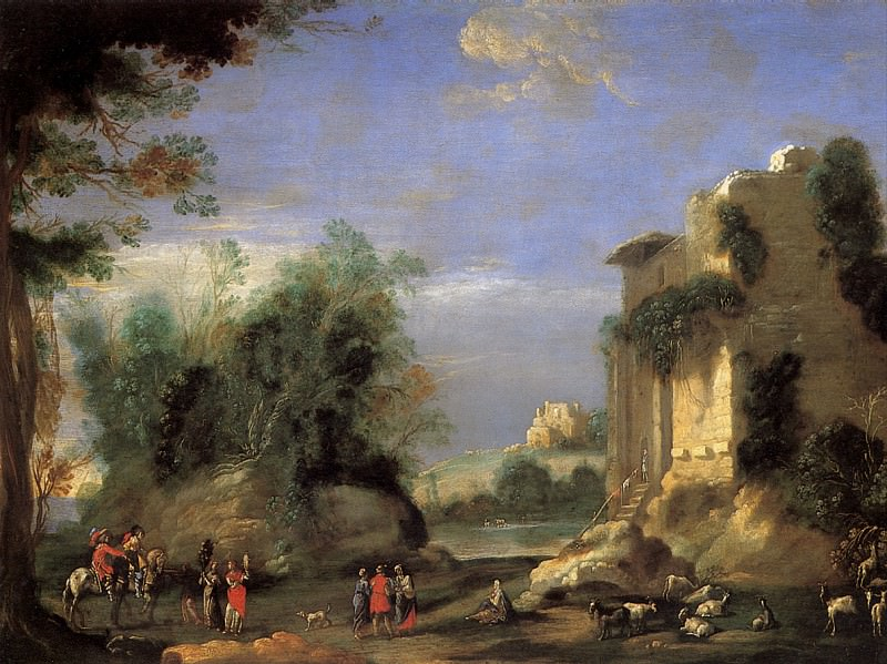 Д′АНЖЕЛИ ФИЛИППО, ПРОЗВАННЫЙ ФИЛИППО НЕАПОЛИТАНЕЦ - Пейзаж с руинами и фигурами.. Louvre (Paris)