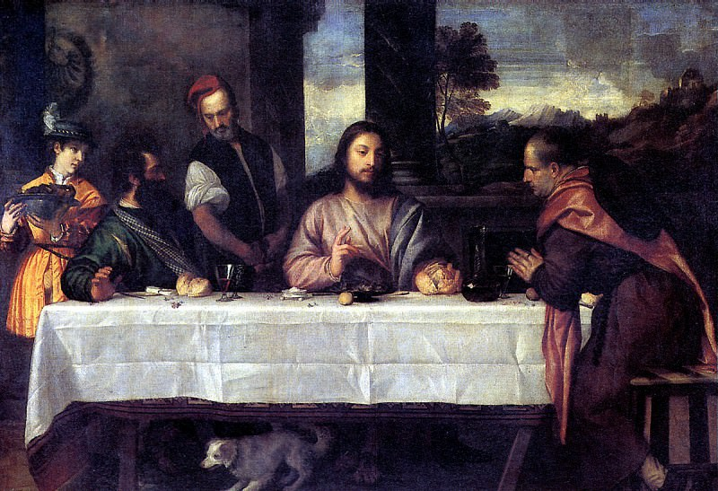 ТИЦИАН - Христос в Эммаусе, ок. 1535.. Louvre (Paris)