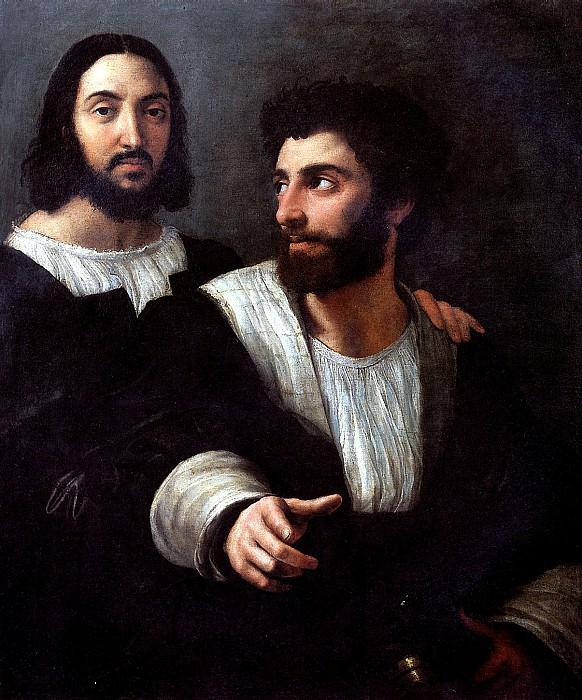 РАФАЭЛЬ - Автопортрет с другом, учителем фехтования.. Louvre (Paris)