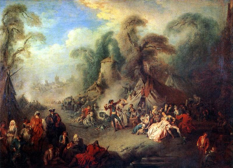 ПАТЕР ЖАН БАТИСТ - Сельский праздник с солдатами, 1728.. Louvre (Paris)