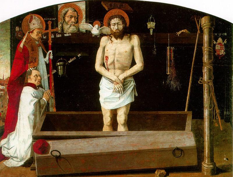 ПРОВАНСАЛЬСКАЯ ШКОЛА - Новозаветная Троица с мертвым Христом, со св. Агриколусом и донатором, известна как Бульбонский алтарь.. Louvre (Paris)