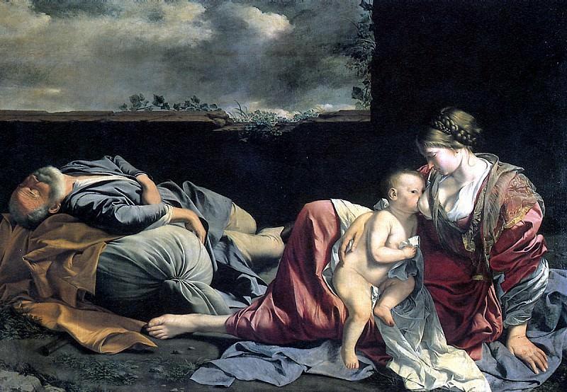 ДЖЕНТИЛЕСКИ ОРАЦИО - Отдых на пути в Египет, 1628.. Louvre (Paris)
