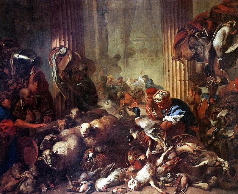 КАСТИЛЬОНЕ - Изгнание торгующих из храма.. Лувр (Париж)