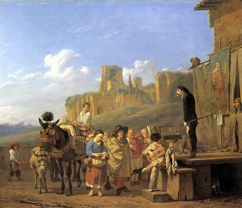 Дюжарден, Карел - Представление шарлатанов на фоне итальянского пейзажа, 1657.. Louvre (Paris)