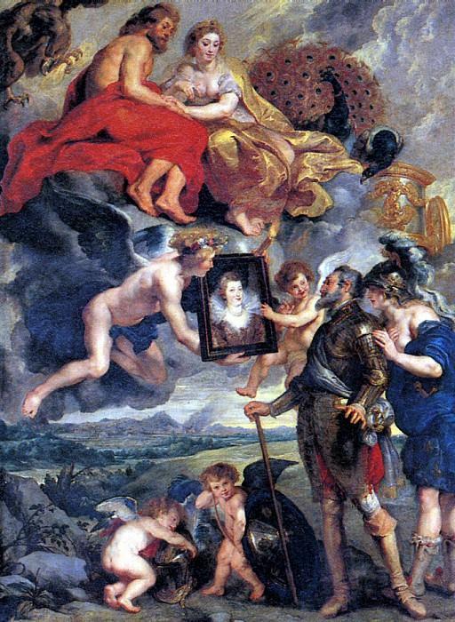 РУБЕНС ПИТЕР ПАУЭЛ - Генрих IV получает портрет Марии Медичи.. Louvre (Paris)