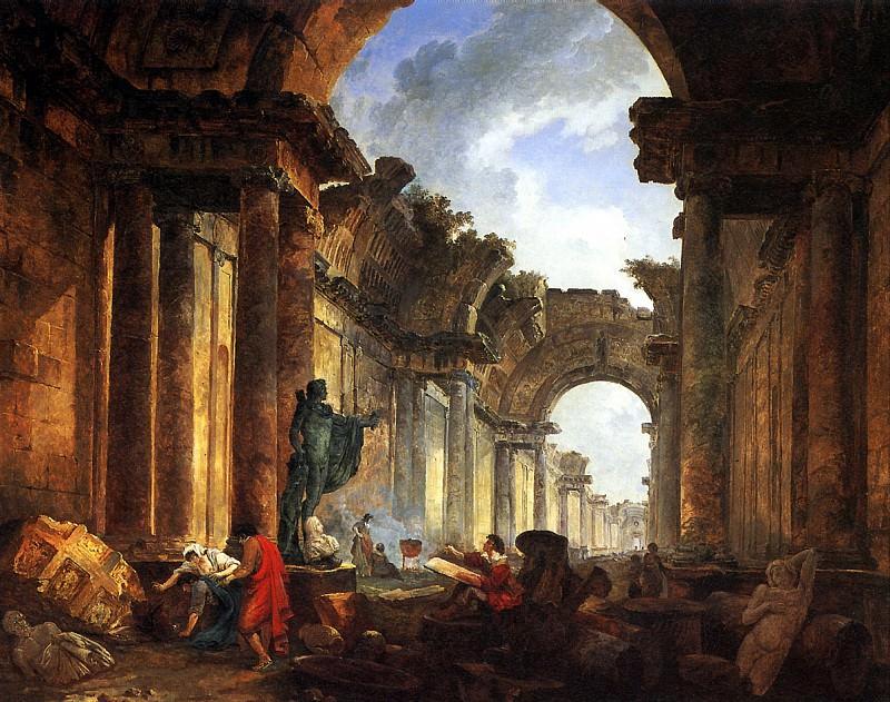 РОБЕР ЮБЕР - Воображаемый вид Большой галереи в руинах.. Louvre (Paris)