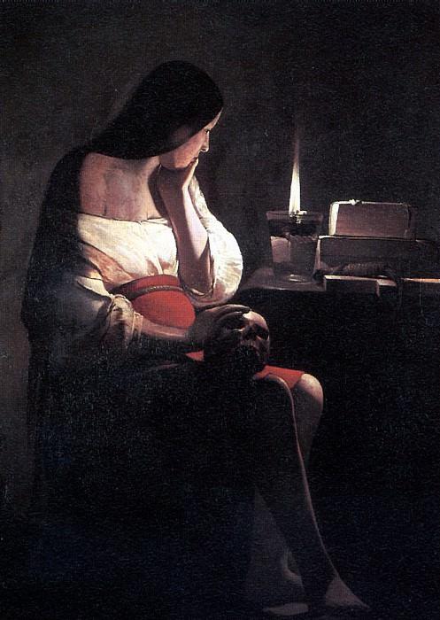 ЛАТУР - Скорбящая св. Магдалина, или Магдалина перед светильником.. Louvre (Paris)
