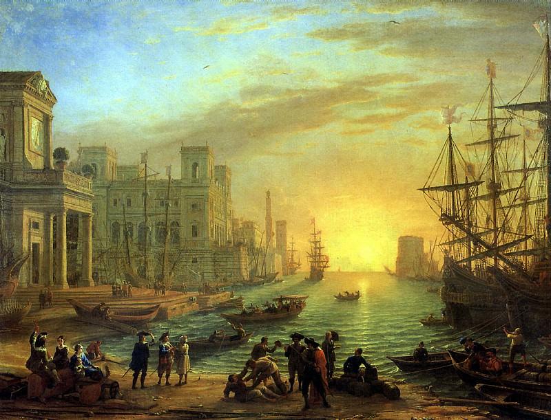ЛОРРЕН - Морская гавань при заходе солнца, 1639.. Louvre (Paris)