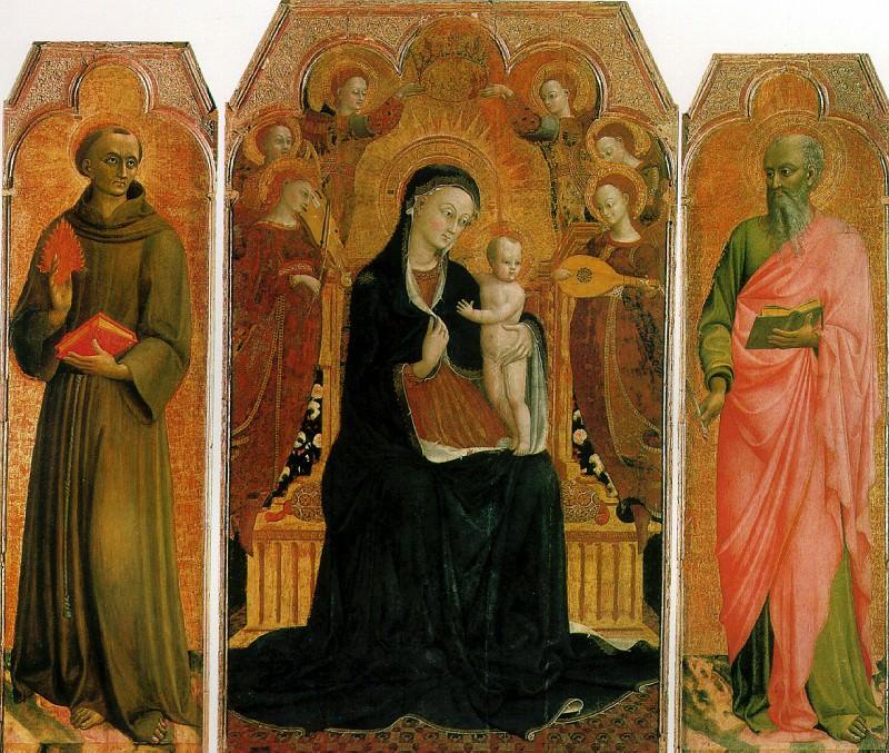 ДЖОВАННИ СТЕФАНО ДИ, ПРОЗВАННЫЙ САССЕТТА - Мадонна с младенцем на троне в окружении шести ангелов, со святыми Антонием Падуанским и Иоанном Евангелистом, 1437-1444.. Louvre (Paris)