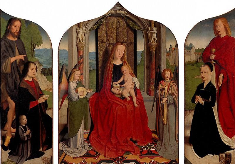 ДАВИД ГЕРАРД - Мария с младенцем среди музицирующих ангелов, с донатором и его семьей, известная как Триптих семьи Седано.. Louvre (Paris)
