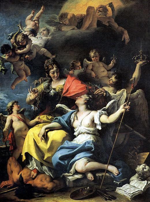 РИЧЧИ СЕБАСТЬЯНО - Аллегория Франции в образе Минервы или Мудрости, попирающей Невежество и увенчивающей воинствующую Добродетель, 1718.. Louvre (Paris)