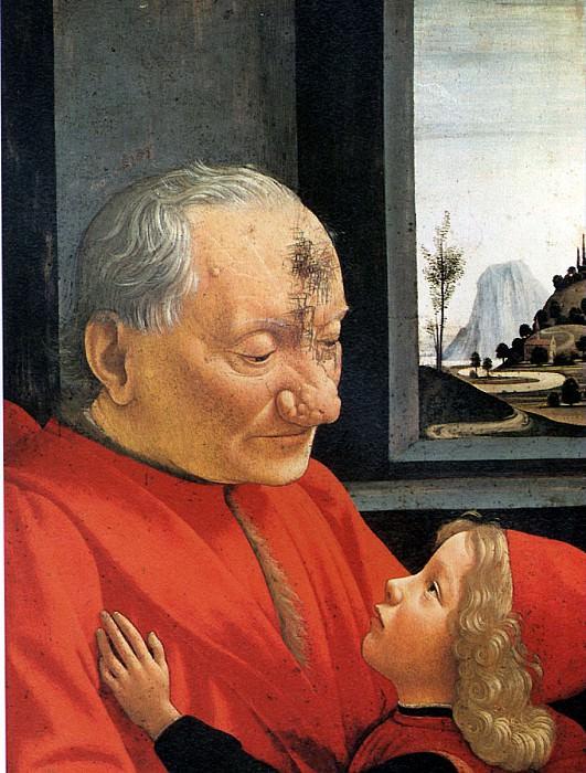 ГИРЛАНДАЙО ДОМЕНИКО - Портрет старика с внуком.. Louvre (Paris)