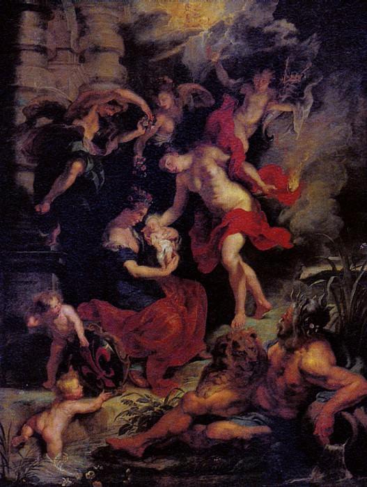 РУБЕНС ПИТЕР ПАУЭЛ - Рождение Марии Медичи.. Louvre (Paris)