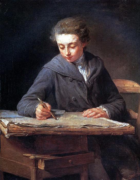 ЛЕПИСЬЕ НИКОЛА БЕРНАР - Юный рисовальщик (Художник Карл Верне в возрасте четырнадцати лет), 1772.. Louvre (Paris)