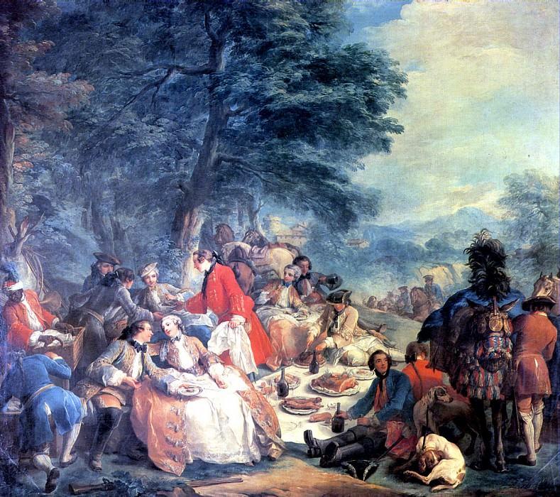 ВАНЛОО КАРЛ - Отдых на охоте, 1737.. Louvre (Paris)