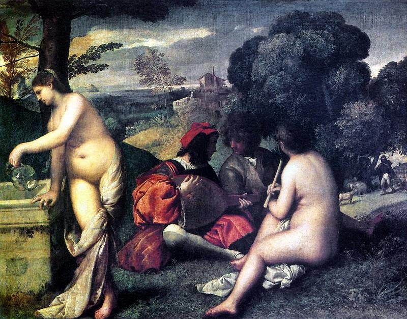GIORGONE - Сельский концерт (Пасторальный концерт), 1510-1511.. Louvre (Paris)
