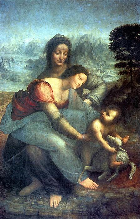 ЛЕОНАРДО - Мария с младенцем и со св. Анной.. Louvre (Paris)