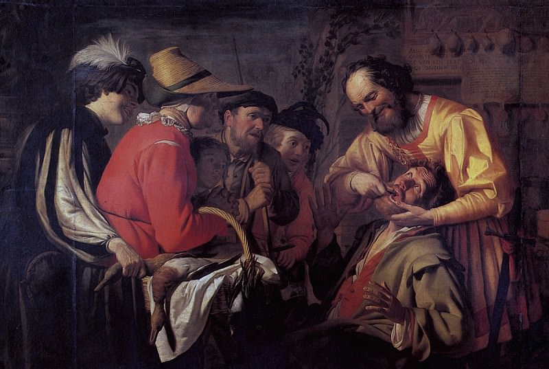 ХОНТХОРСТ ГЕРРИТ ВАН - Вырывание зуба, 1628.. Лувр (Париж)