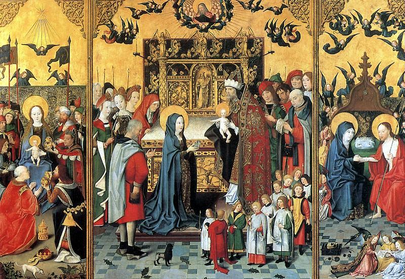 МАСТЕР СВЯТОЙ РОДНИ - Алтарь Семь радостей Богоматери: Поклонение волхвов, Принесение во храм, Христос является Марии. Ок. 1480 г.. Louvre (Paris)