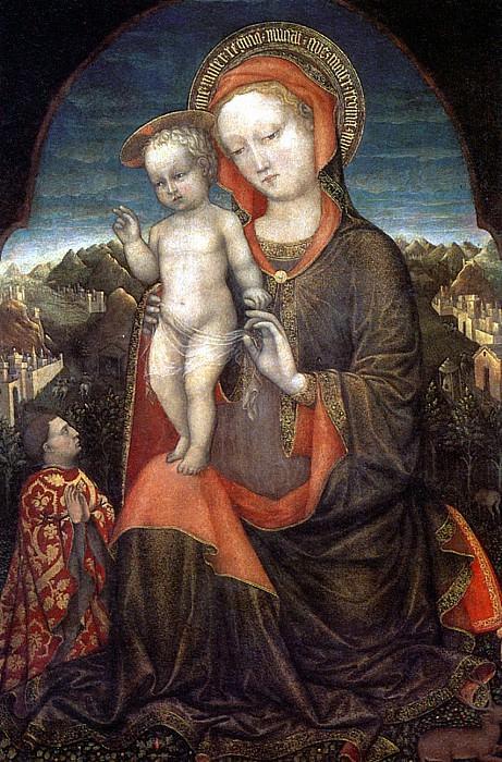 БЕЛЛИНИ ЯКОПО - Мадонна с младенцем и с донатором Лионелло д′ Эсте.. Louvre (Paris)