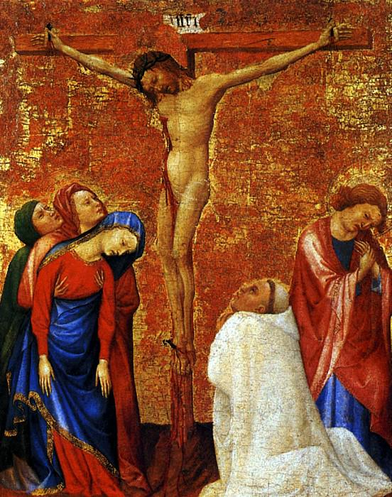 БОМЕЦ ЖАН ДЕ - Распятие с донатором, монахом-картезианцем, между 1389-1395.. Louvre (Paris)