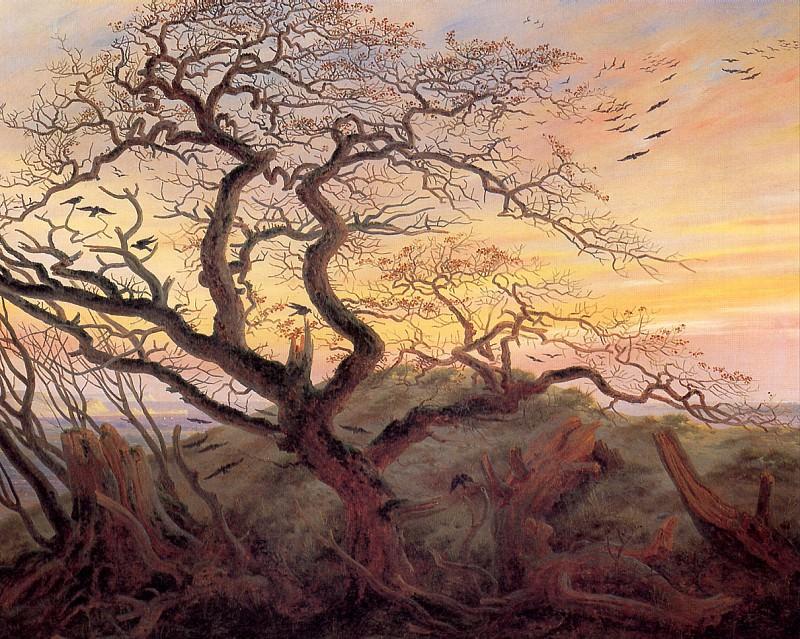 ФРИДРИХ КАСПАР ДАВИД - Дерево с воронами; могильный курган у Балтийского моря и остров Рюген вдали.. Louvre (Paris)