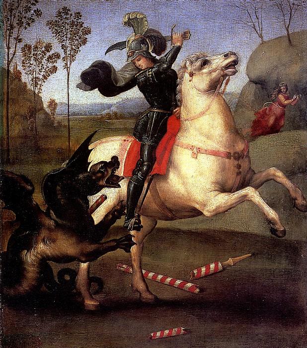 РАФАЭЛЬ - Св. Георгий, побеждающий дракона, 1505.. Лувр (Париж)