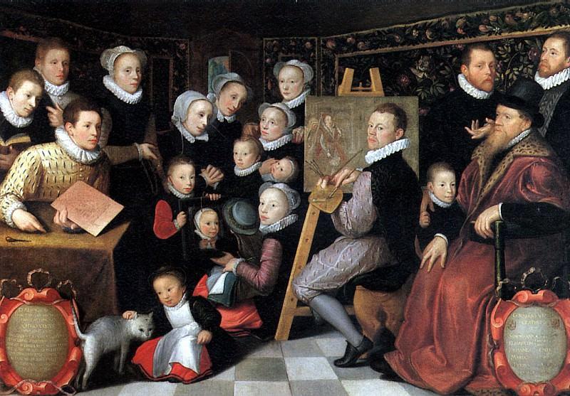 ВАН ВЕН ОТТО (ОТТО ВЕНИУС) - Художник Отто Вениус в окружении домочадцев, 1584.. Louvre (Paris)