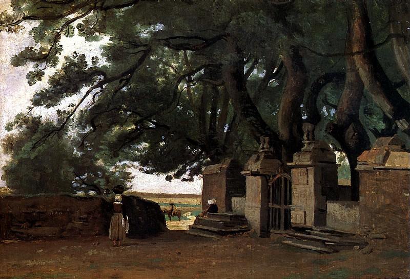 КОРО ЖАН БАТИСТ КАМИЛЬ - Ворота в тени деревьев, или Вход в замок.. Louvre (Paris)
