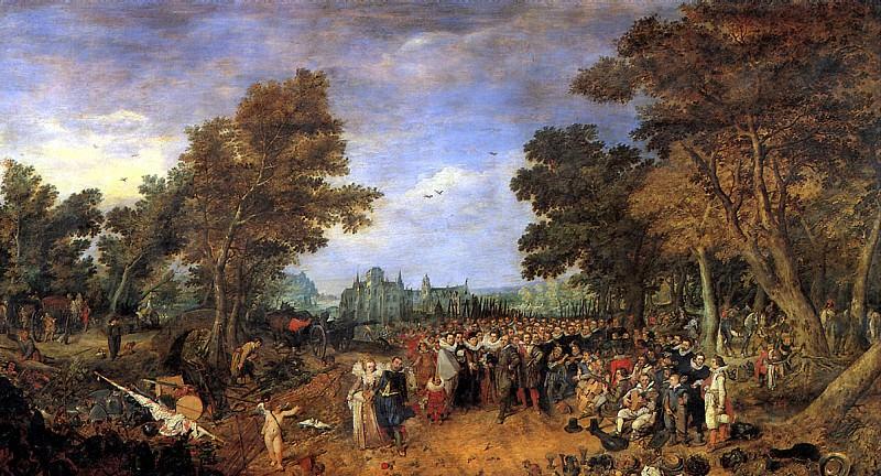 ВАН ДЕ ВЕННЕ АДРИАН - Аллегория перемирия 1609 года между эрцгерцогом Австрийским, правителем Южных Нидерландов, и генералом государств Северных Нидерландов, 1616.. Лувр (Париж)