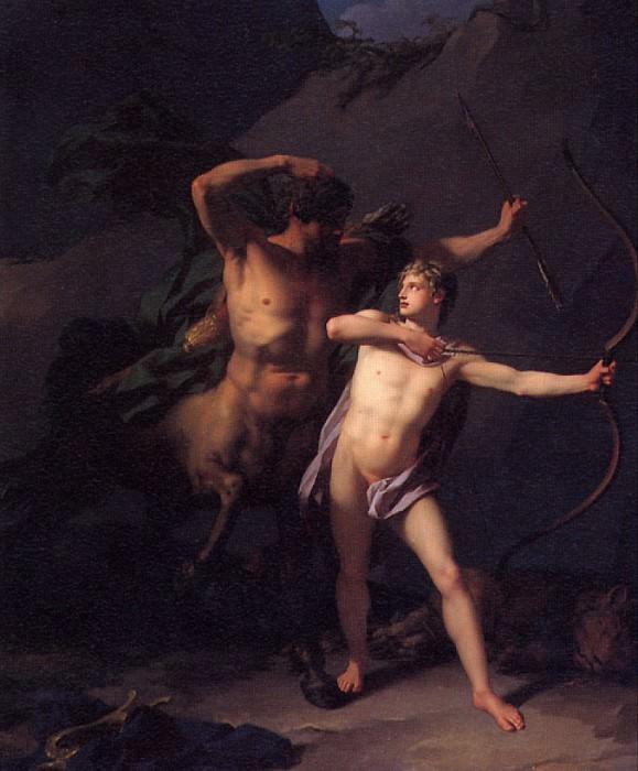 РЕНЬО ЖАН БАТИСТ - Воспитание Ахилла кентавром Хироном, 1782.. Louvre (Paris)