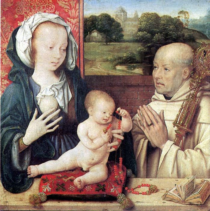 ВАН КЛЕВЕ ЙОС - Мадонна с младенцем и с донатором-доминиканцем.. Louvre (Paris)